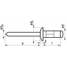 MFX BLINDKLINKNAGEL PLIA ALU/ST BK 4.8X10