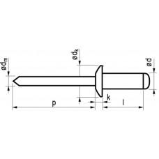 MFX BLINDKLINKNAGEL ALU/ST BK 4.8X12