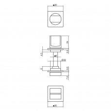 WC-SLUITING 8MM MINIMALISTISCH ZELFKLEVEND, VIERKANT 30X30X2,5MM RVS Z