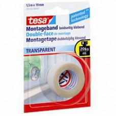 55743 TESA® POWERBOND MONTAGETAPE TRANSPARENT 1,5M:19MM