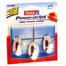 57543 TESA POWERSTRIPS SMALL OVAAL CHROOM